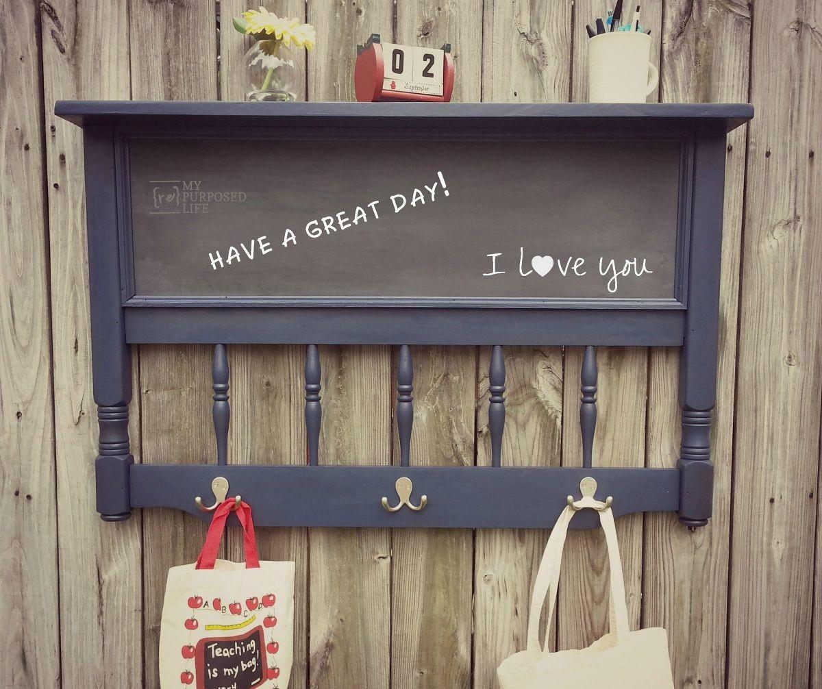 Repurposed Headboard Chalkboard Coat Rack Shelf Hometalk