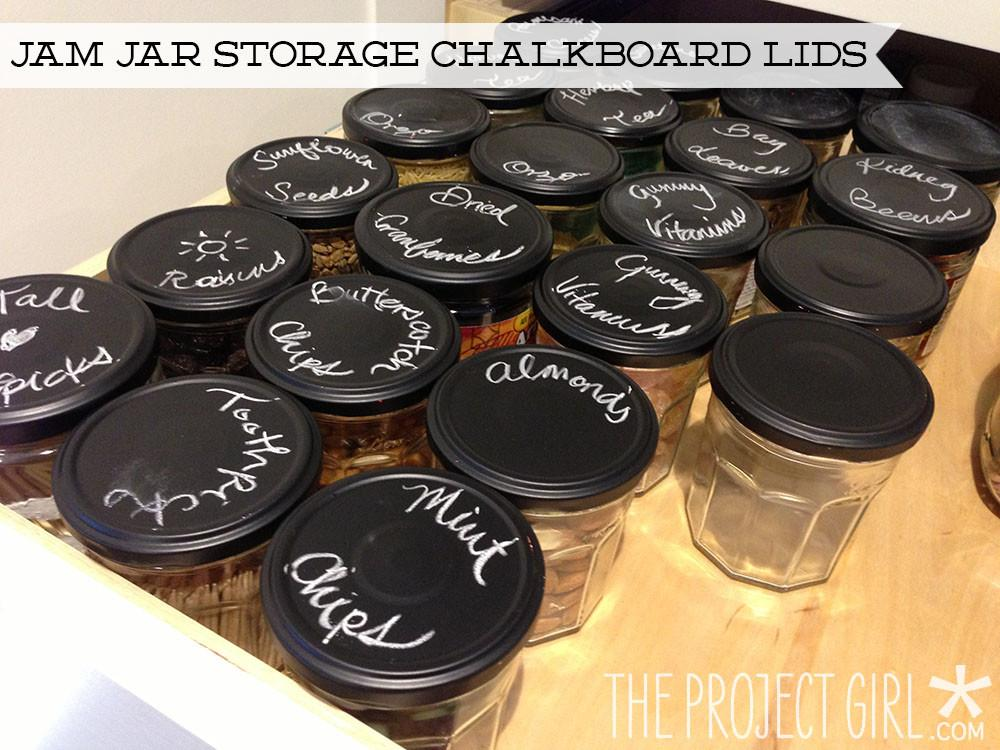 Repurposed Jam Jar Storage Chalkboard Lids
