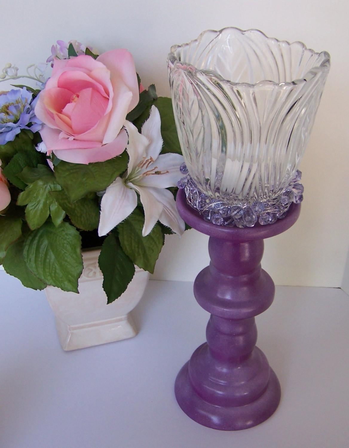 Repurposed Light Shade Candle Holder Upcycled Purple