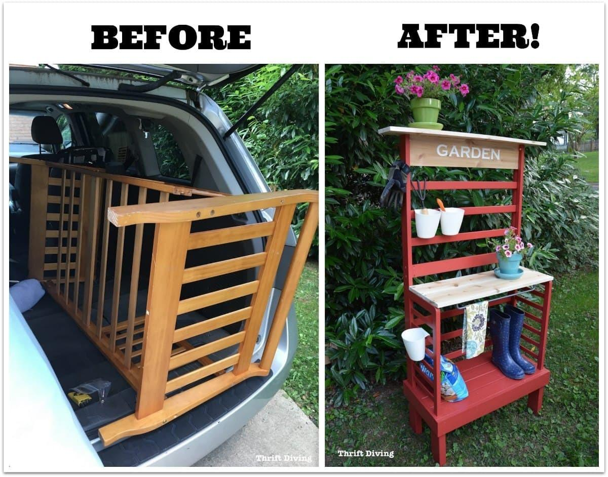 Repurposed Toddler Bed Becomes Diy Potting Bench