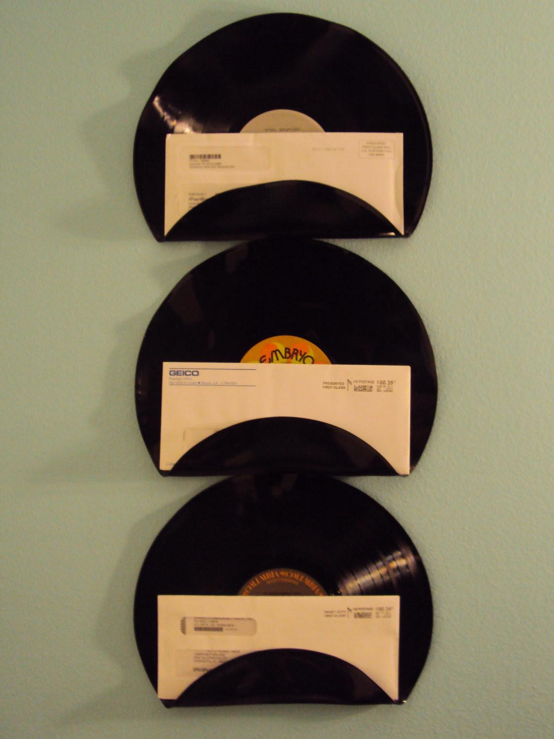 Repurposed Upcycled Vinyl Record Mail Holders Set