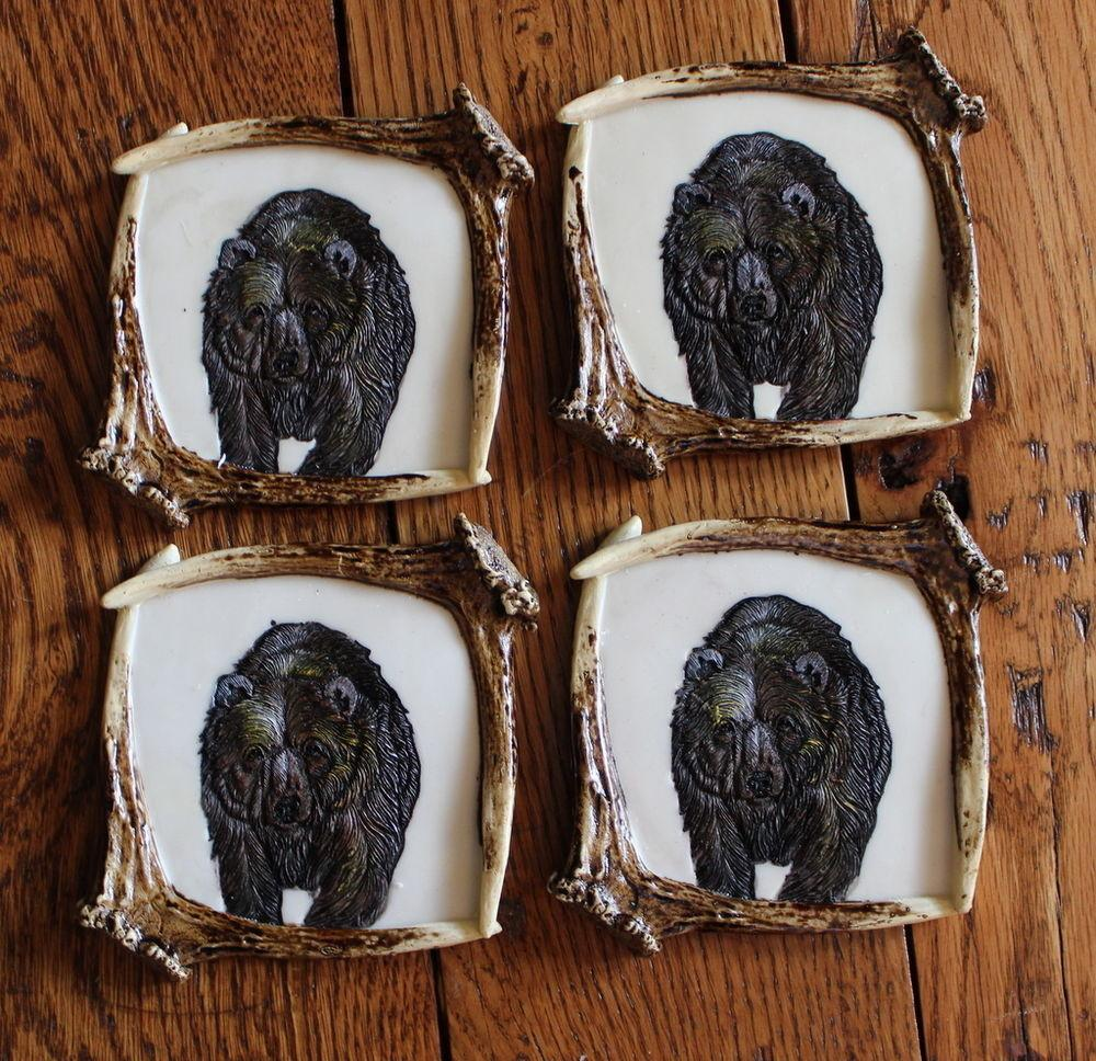 Resin Grizzly Bear Antler Country Coaster Set Bareware