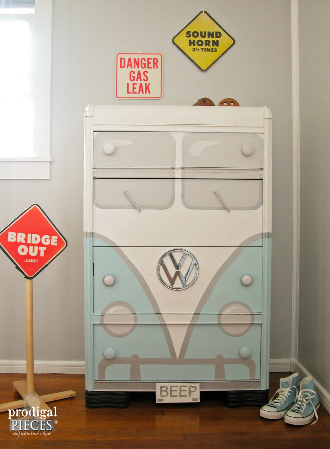 Retro Aqua Blue Volkswagen Bus Chest Drawers Art Deco