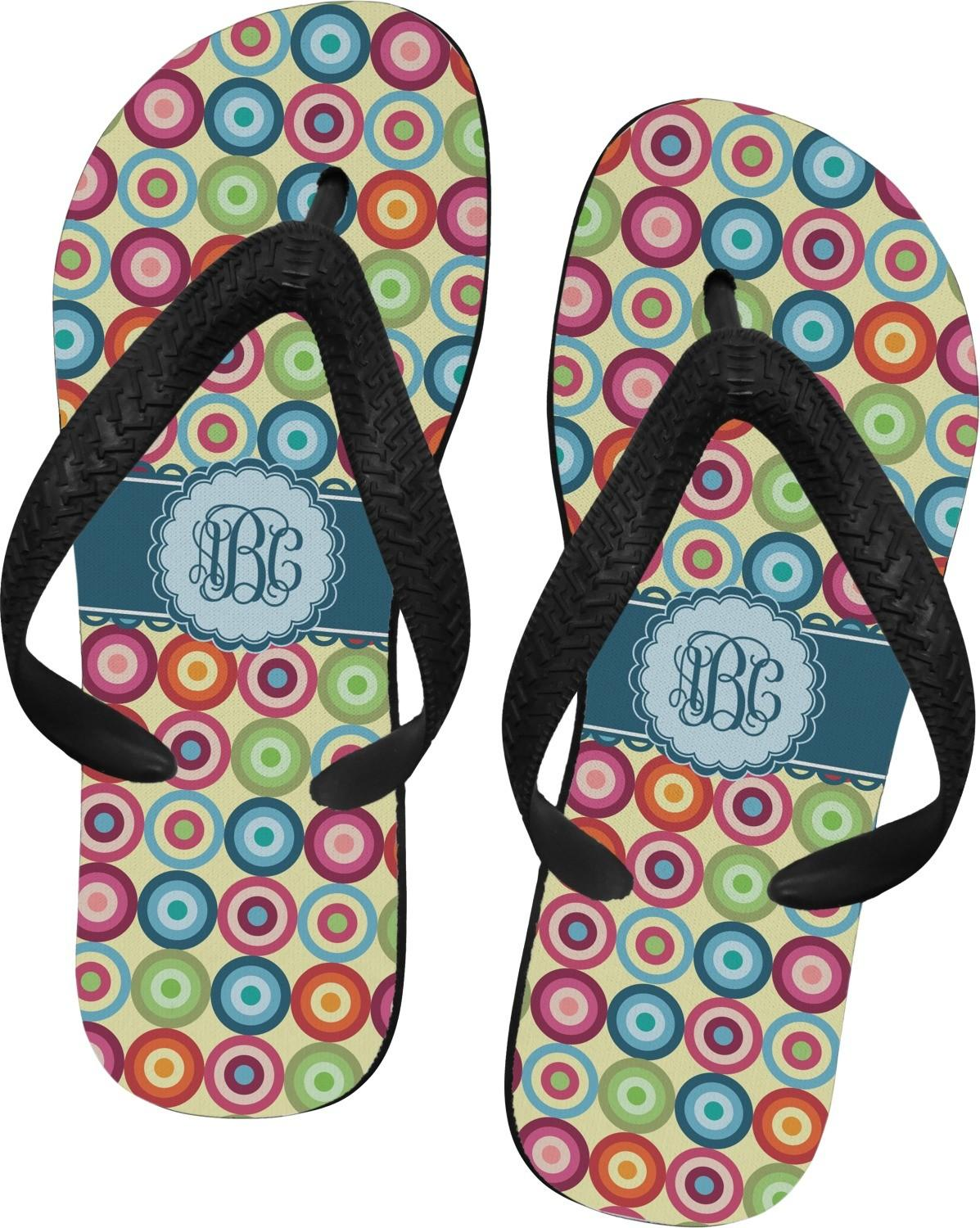 Retro Circles Flip Flops Large Personalized
