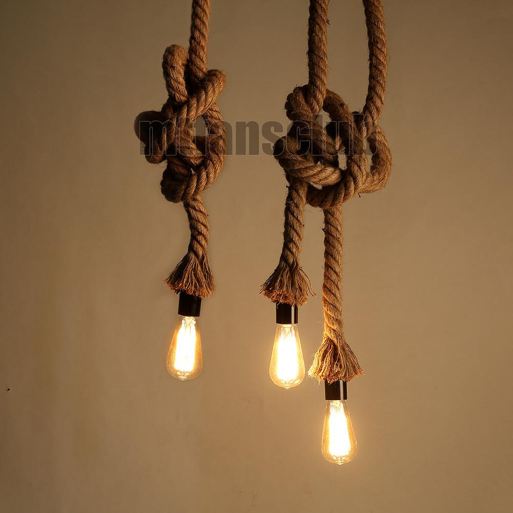Retro Hemp Rope Diy Vintage Chandelier Pendant Light
