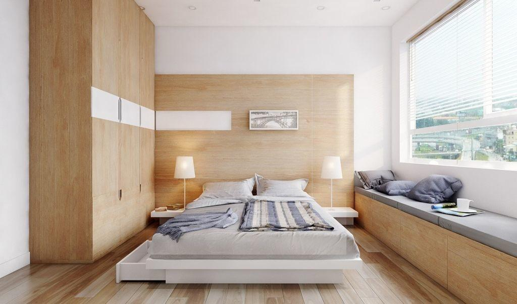 Retro Minimalist Bedroom Apartment Wooden Classic