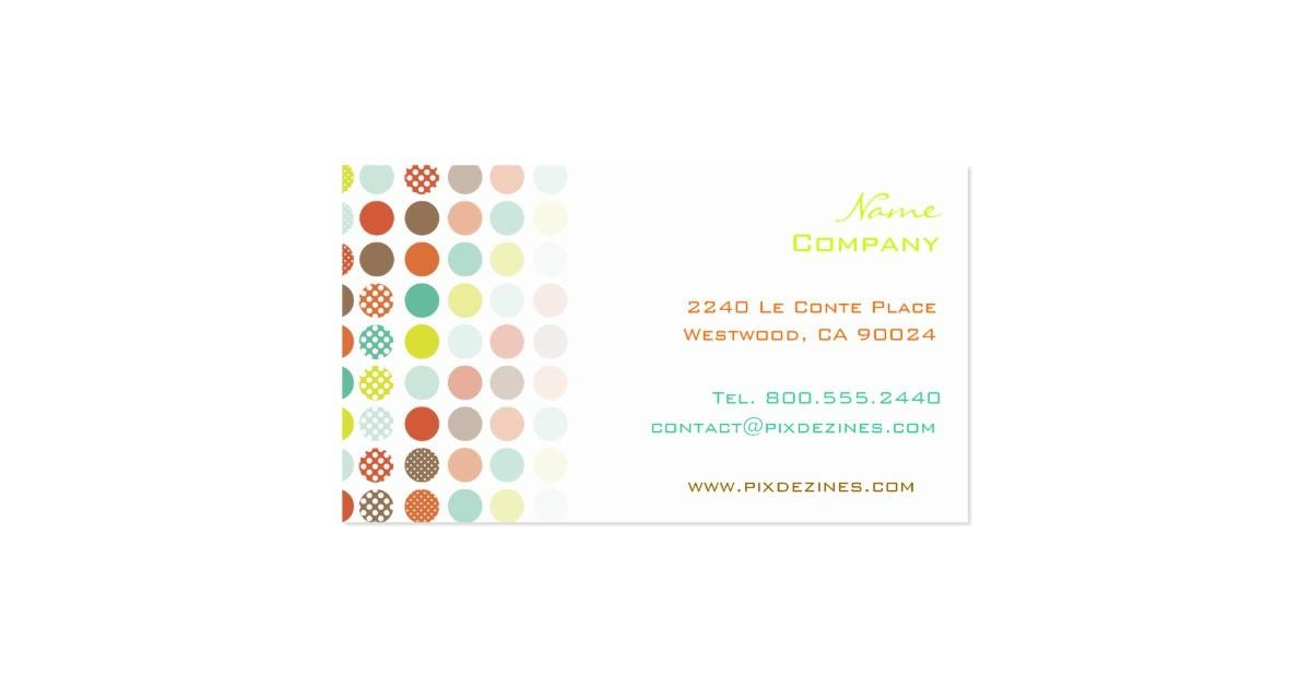 Retro Polka Dots Diy Color Business Card Zazzle