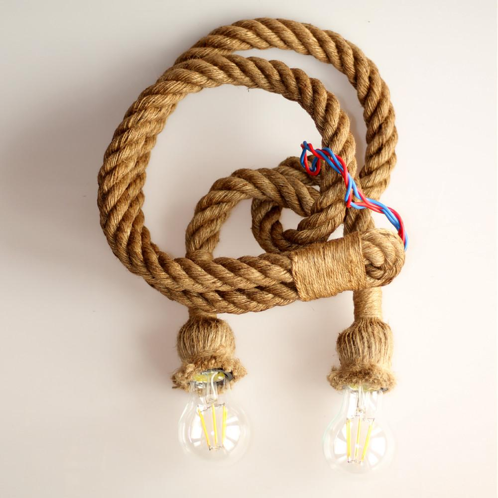 Retro Rope Pendant Light Loft Vintage Lamp Restaurant