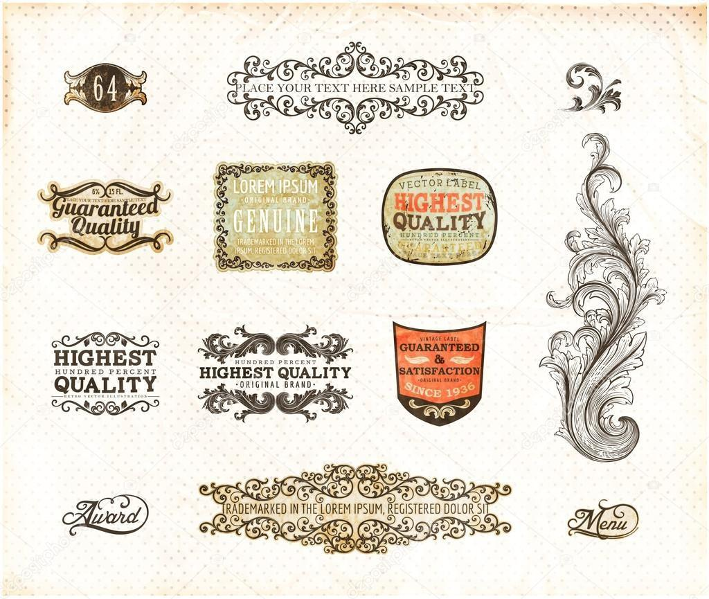 Retro Style Label Collection Vintage Design Old Paper