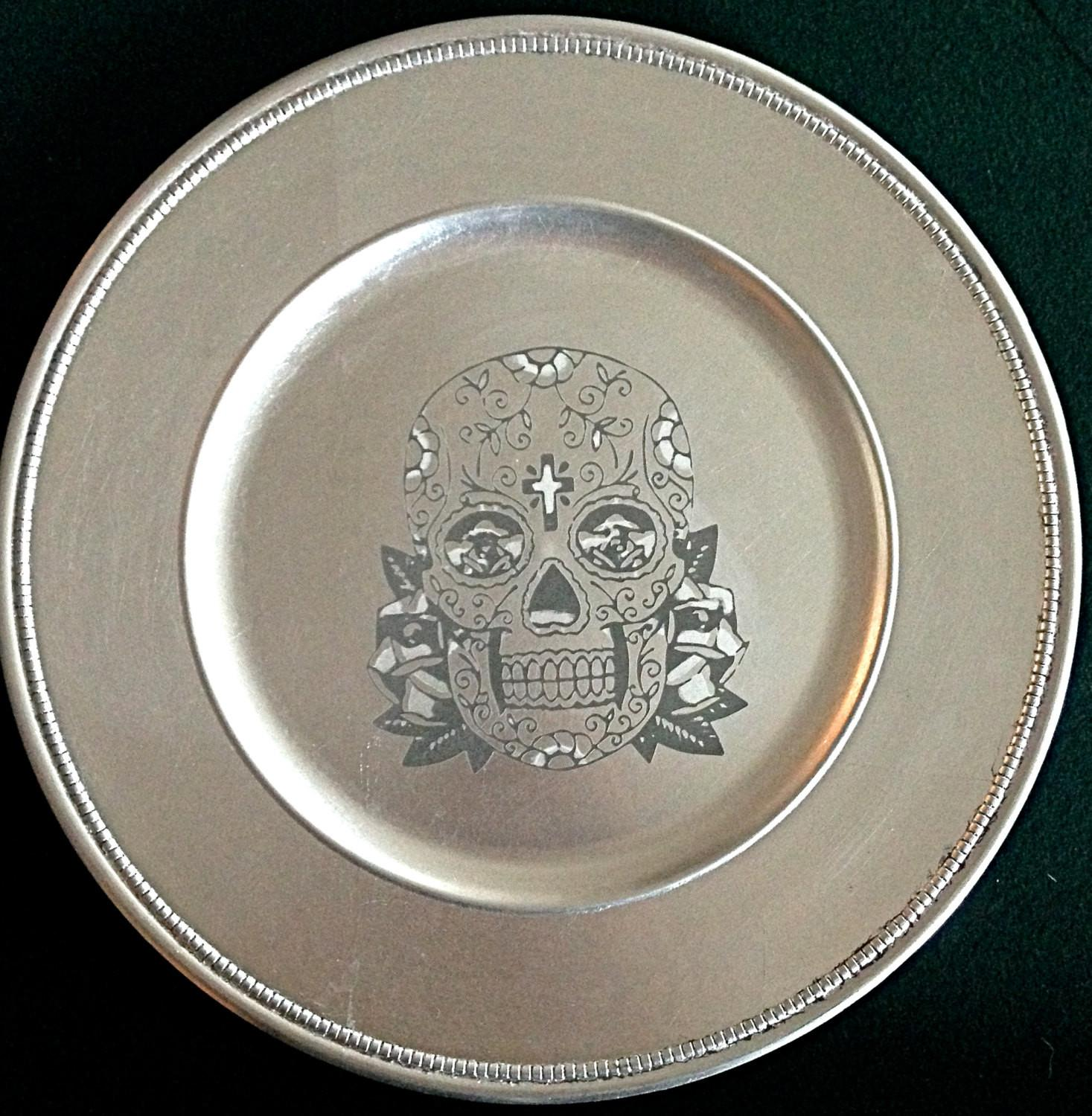 Retro Style Silver Leaf Charger Plate Serving