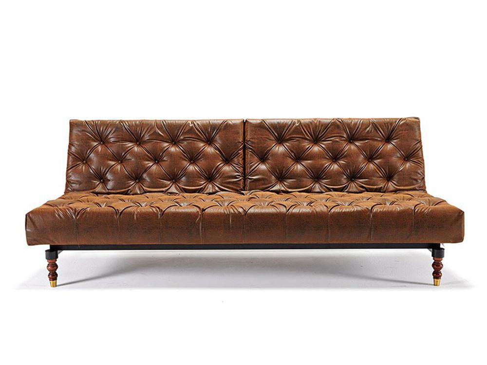 Retro Traditional Style Tufted Sofa Bed Vintage Brown