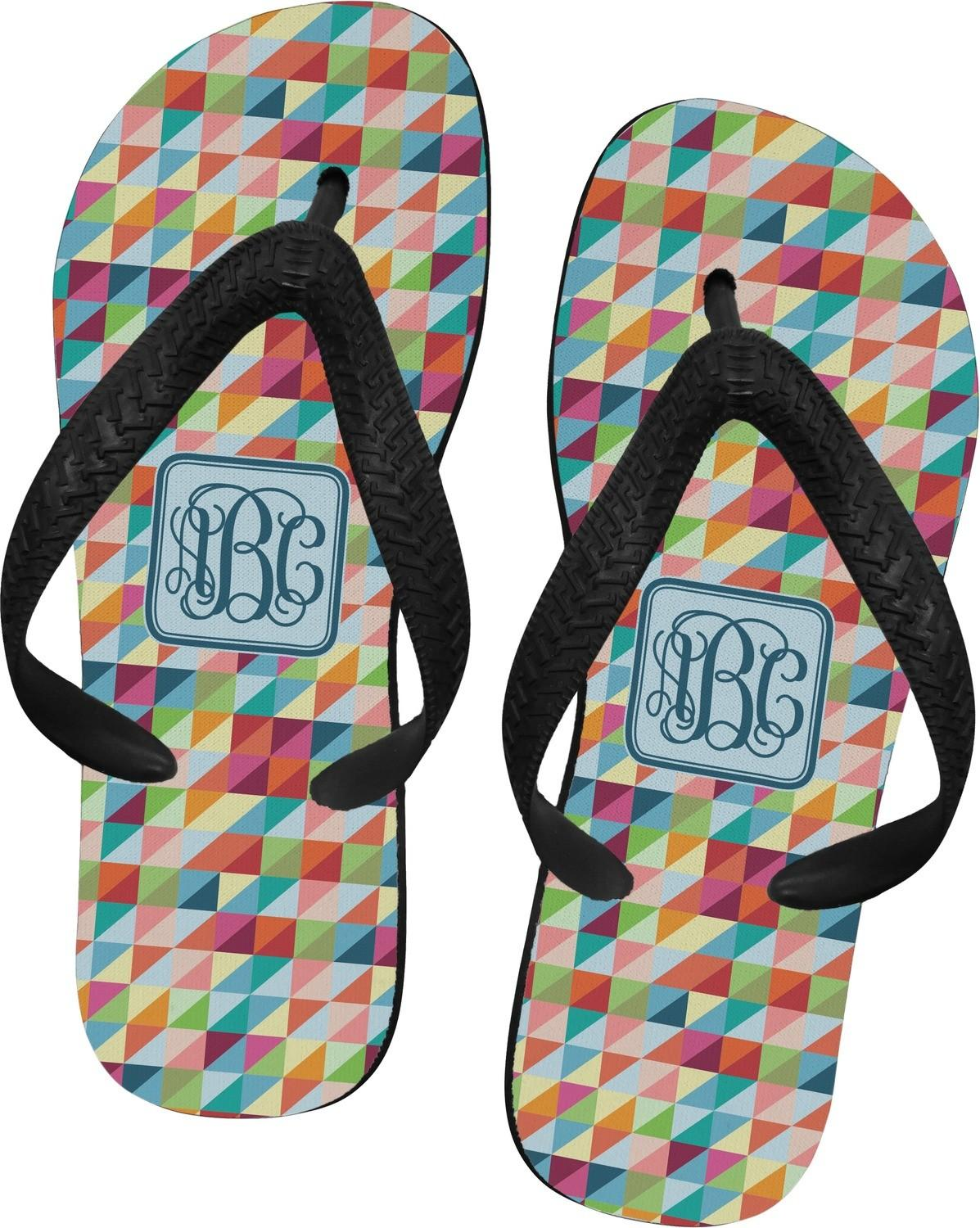 Retro Triangles Flip Flops Small Personalized
