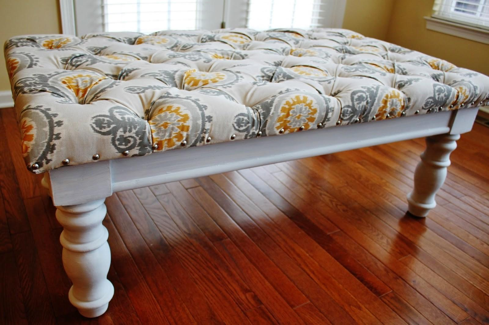 Reupholstered Diy Square Tufted Ottoman Bench Fabric
