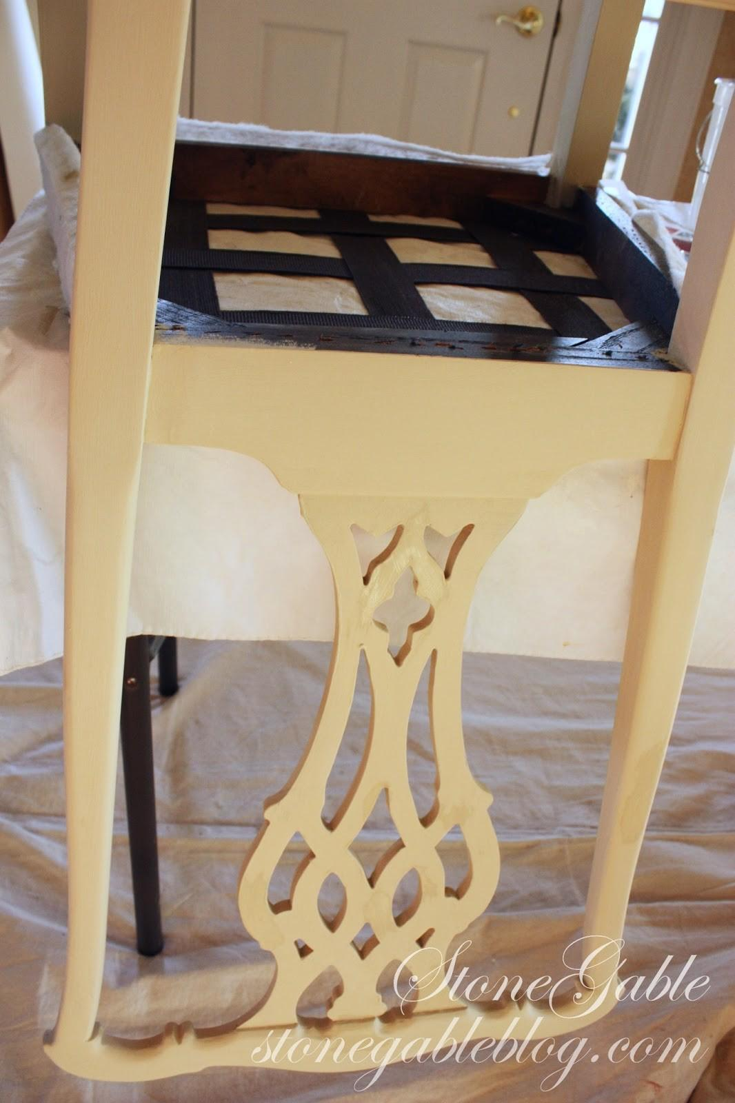 Reupholstering Chair Part Painting Stonegable
