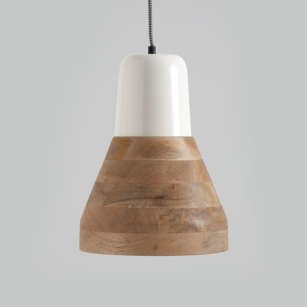 Reykjav White Wood Pendant Light