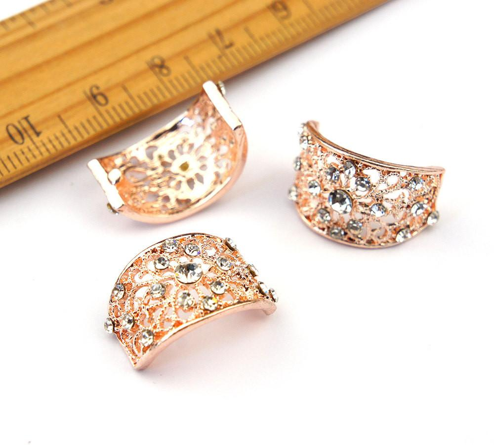 Rhinestone Crystal Arc Bow Diy Finding Rose Gold Napkin Ring