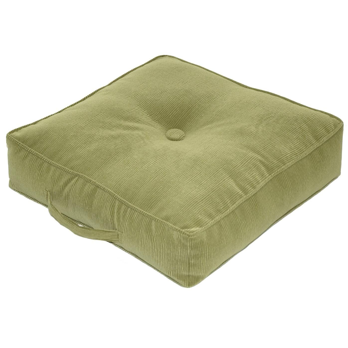 Ribbed Microfiber Inch Olive Square Floor Pillow