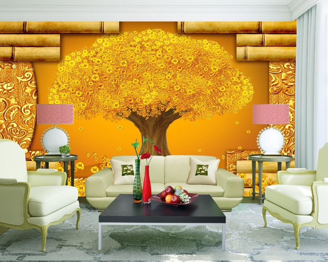Rich Goldern Tree Fortune Diy Wall Mural