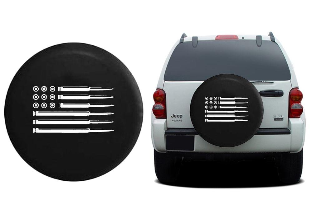 Rifle American Flag Jeep Spare Tire Cover Oem Vinyl Black