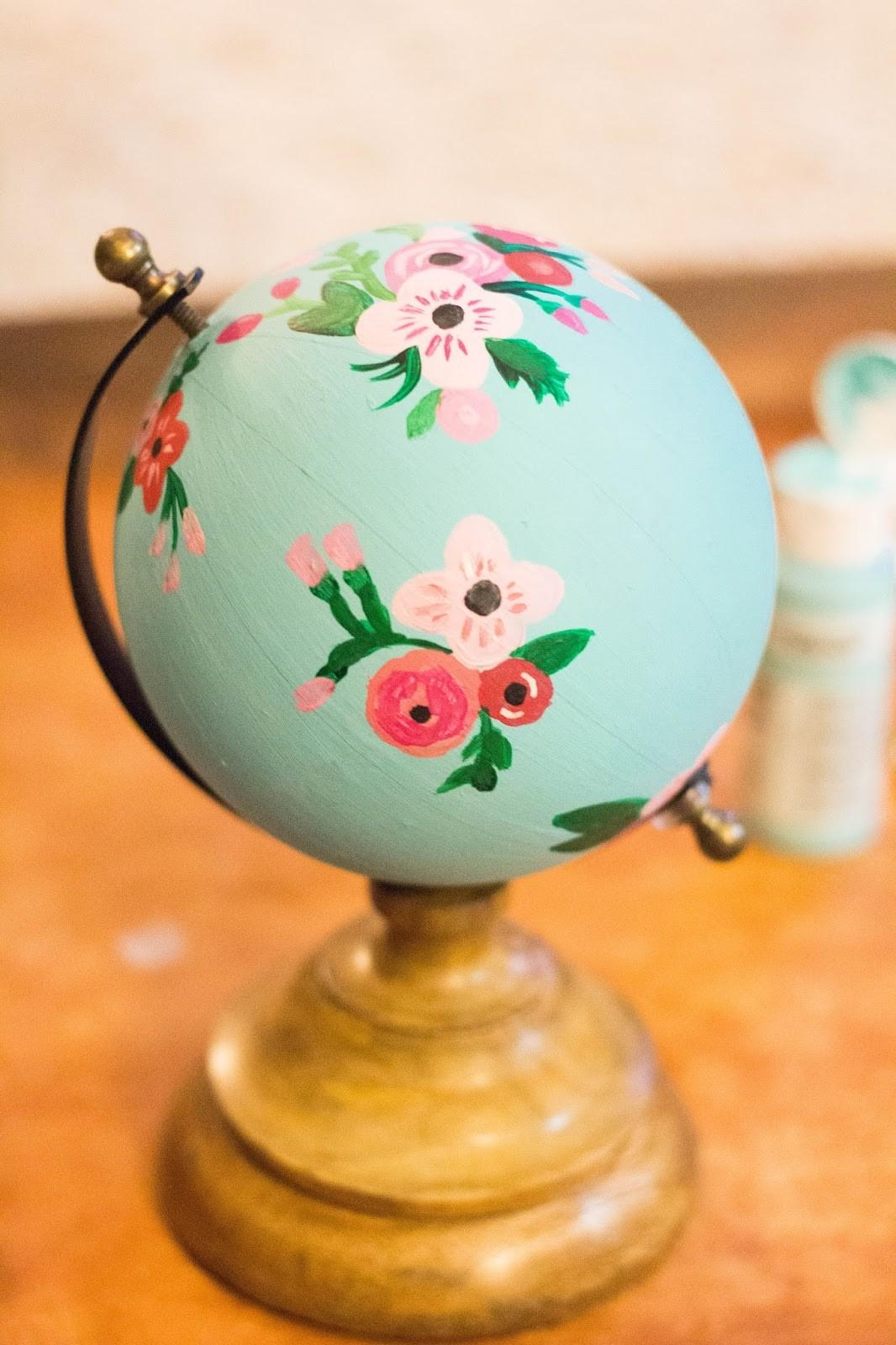 Rifle Paper Inspired Hand Painted Globe Happily Ever