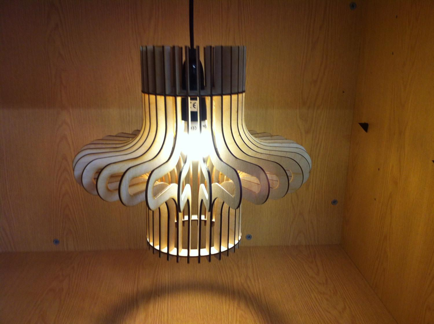 Ripple Design Laser Cut Wooden Hanging Lamp Shade