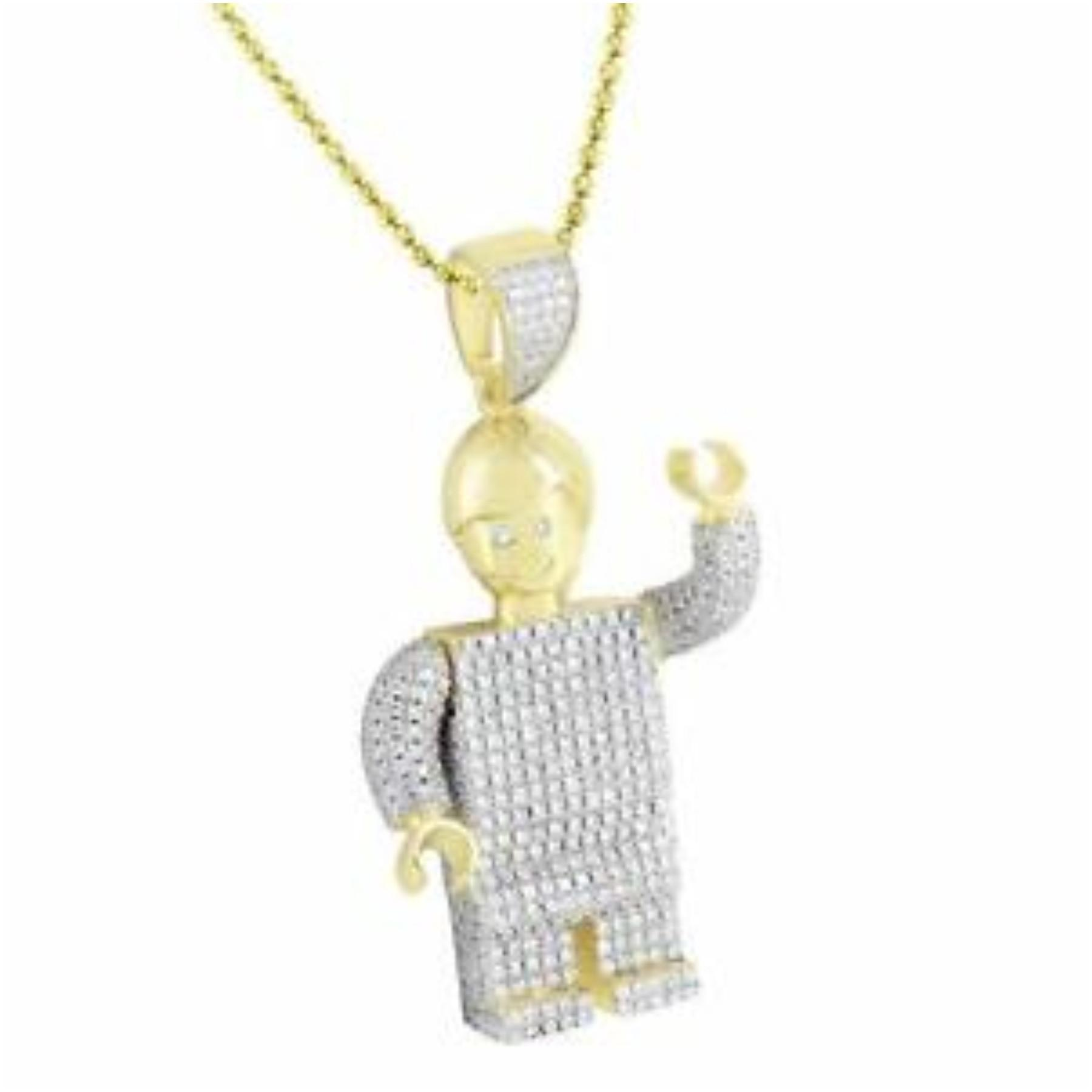 Robot Lego Pendant Gold Sterling Silver Lab Create