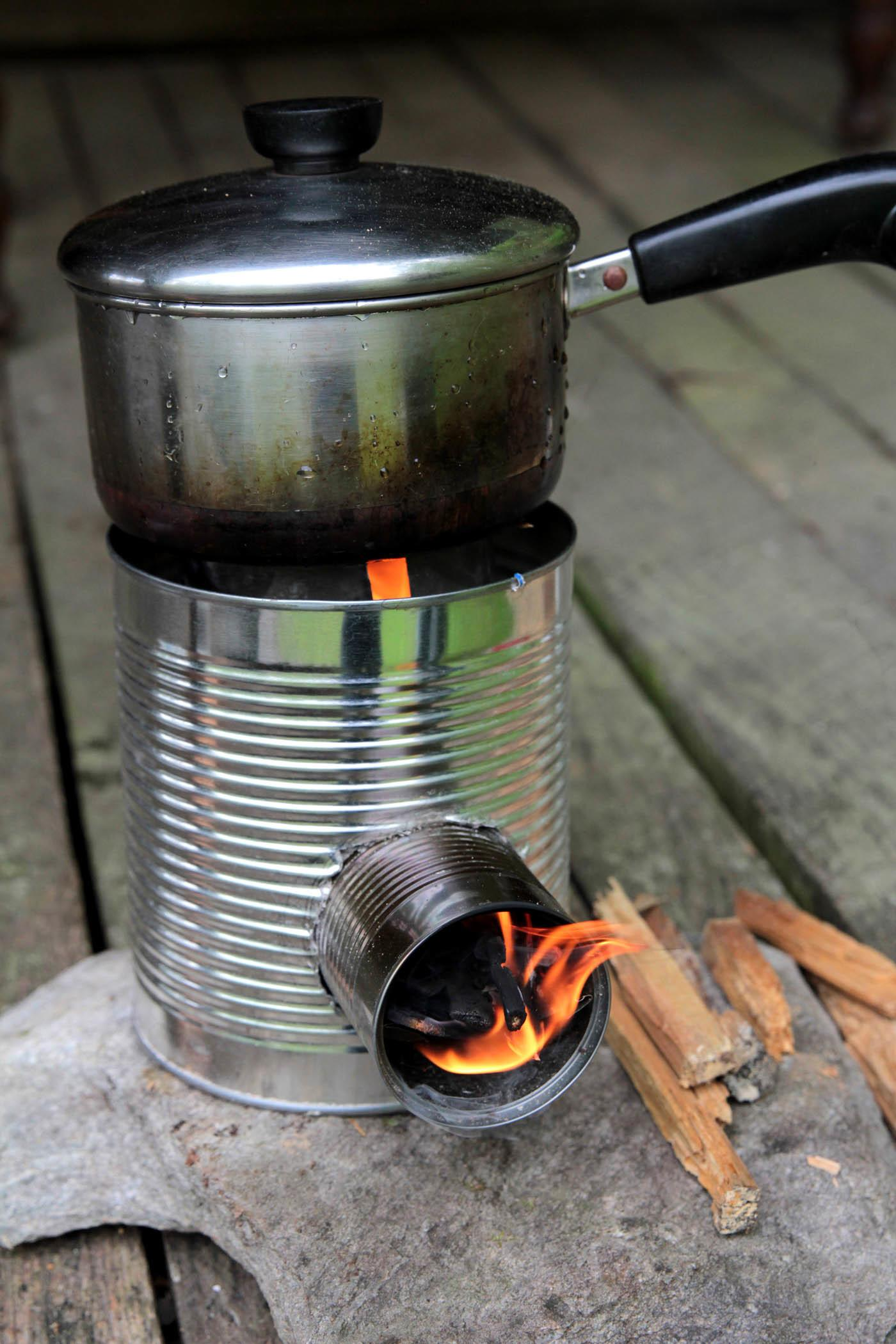Rocket Stove Log Cabin Cooking