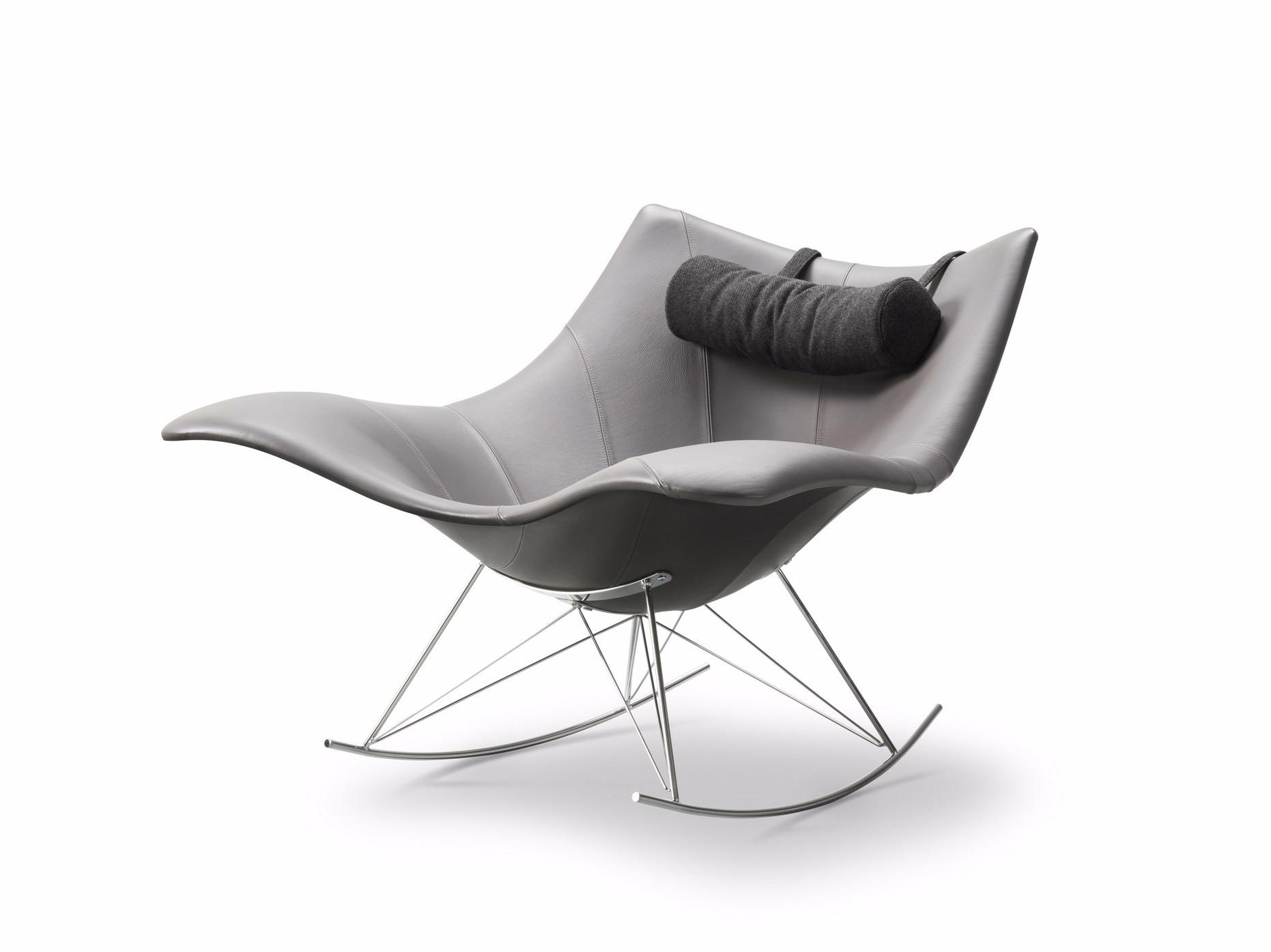 Rocking Leather Armchair Stingray Collection Fredericia