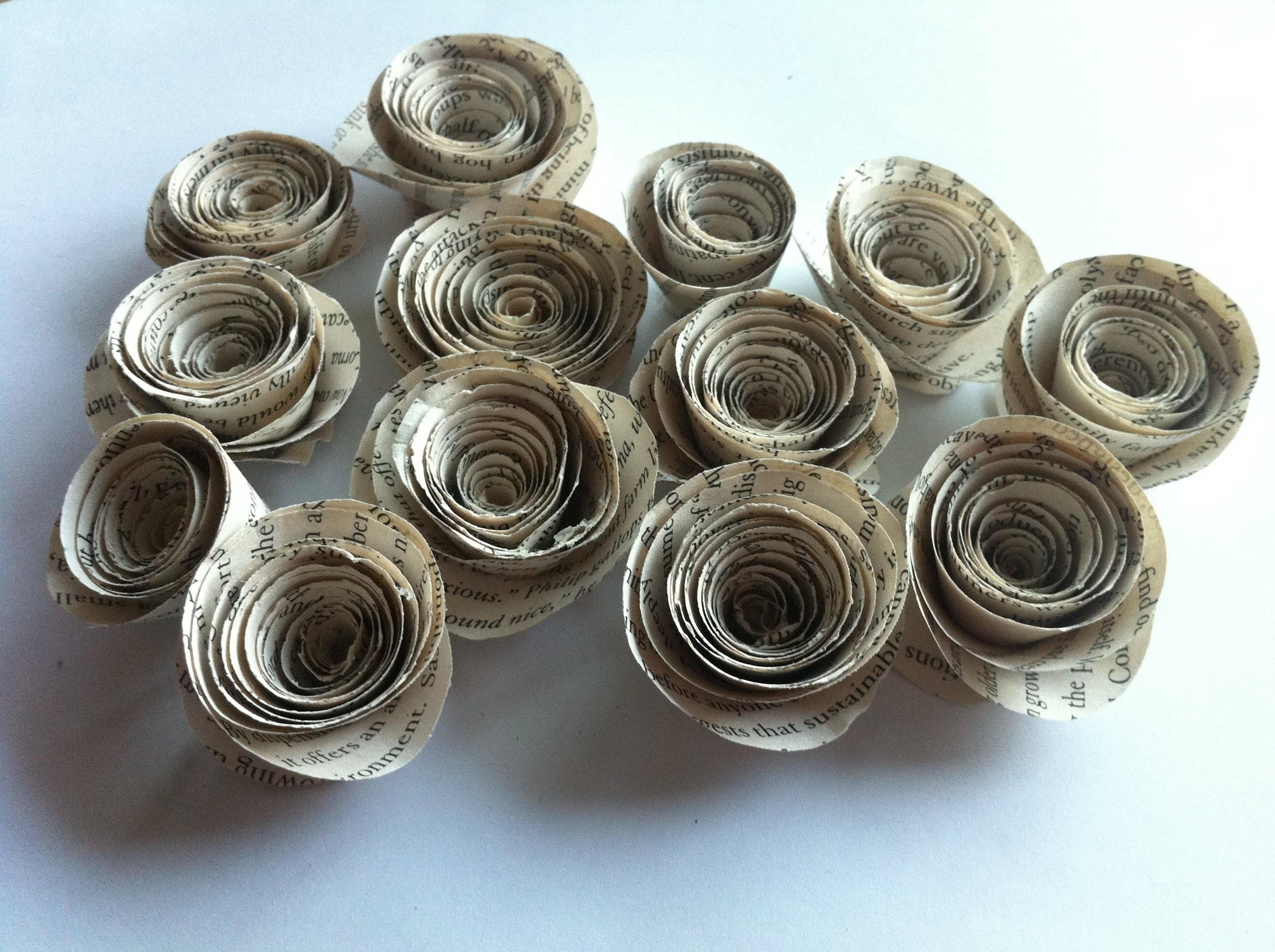 Rolled Book Paper Roses Tutorial