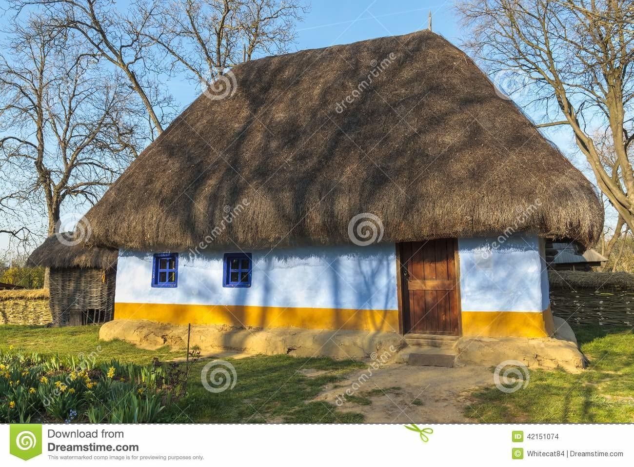 Romanian Thatched Rustic House Stock