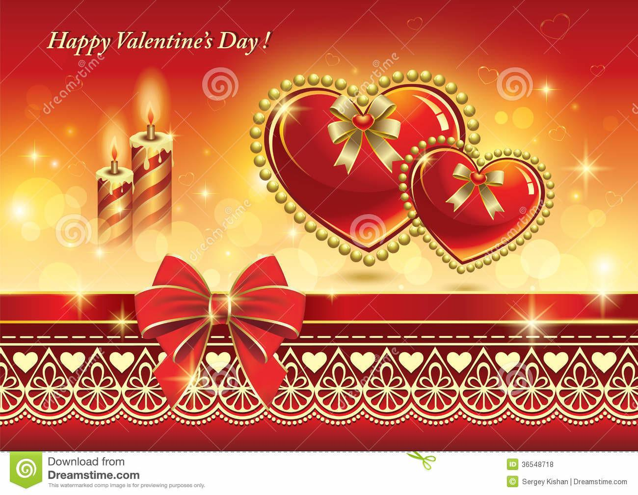 Romantic Card Hearts Candles Valentin Stock