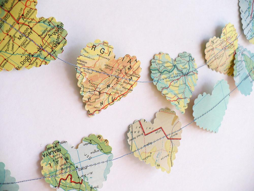 Romantic Heart World Map Paper Garland Thestoryofvintage