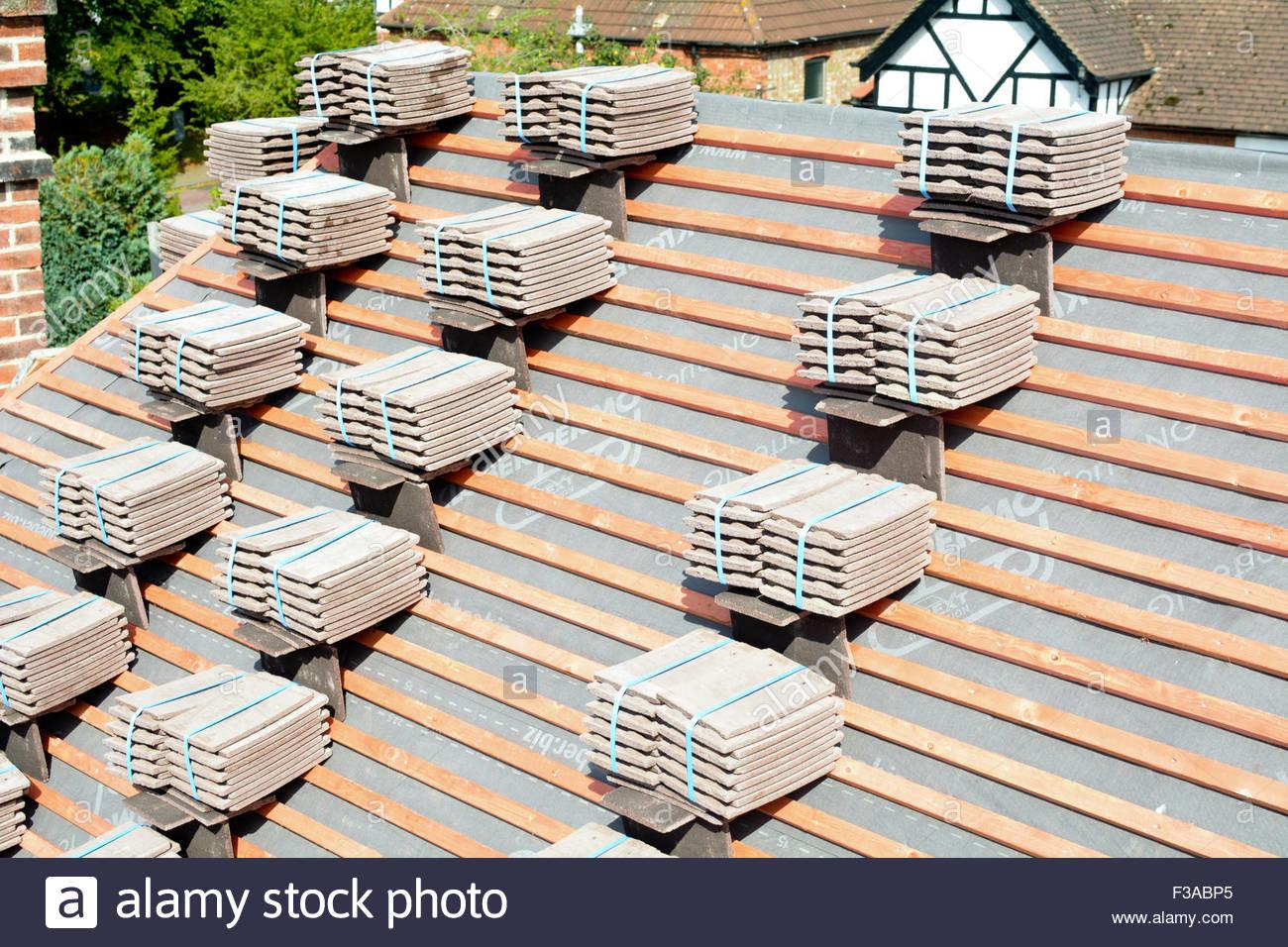 Roof Tiles Stacked Piles Wooden Battens Ready