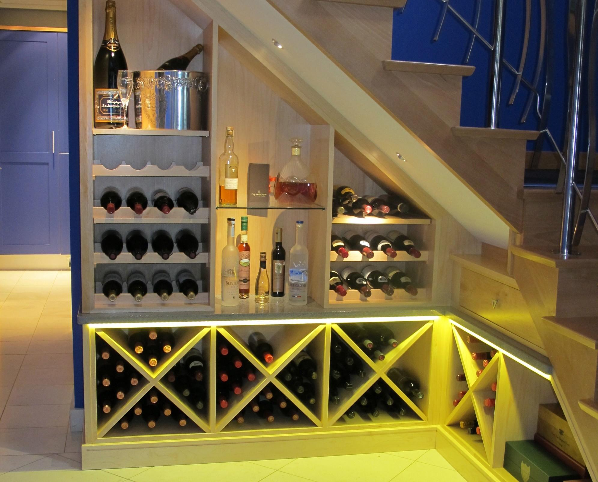 Rooms Impress Custom Made Under Stairs Wine Rack