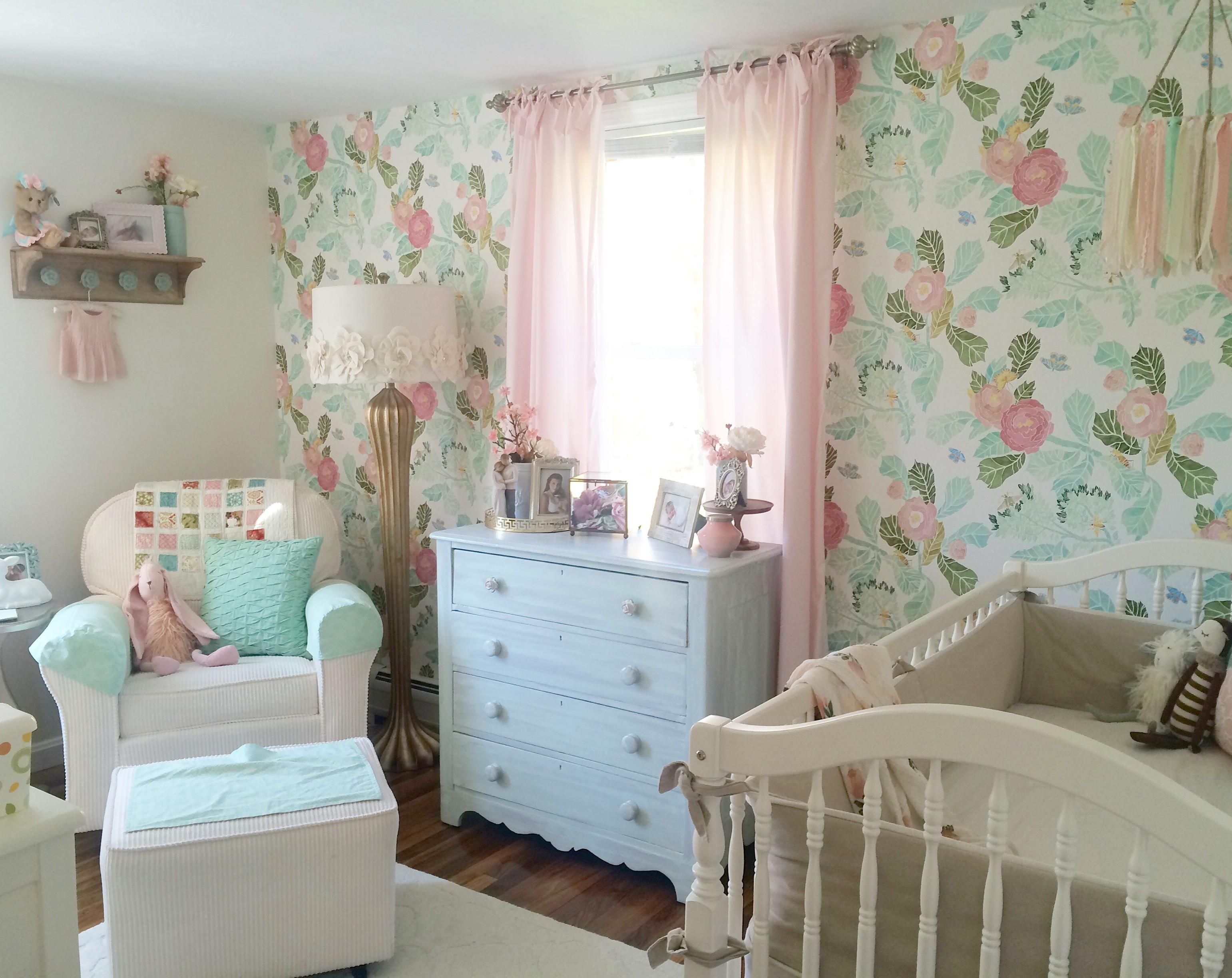 Rory Lou Shabby Chic Mint Pink Gold Nursery