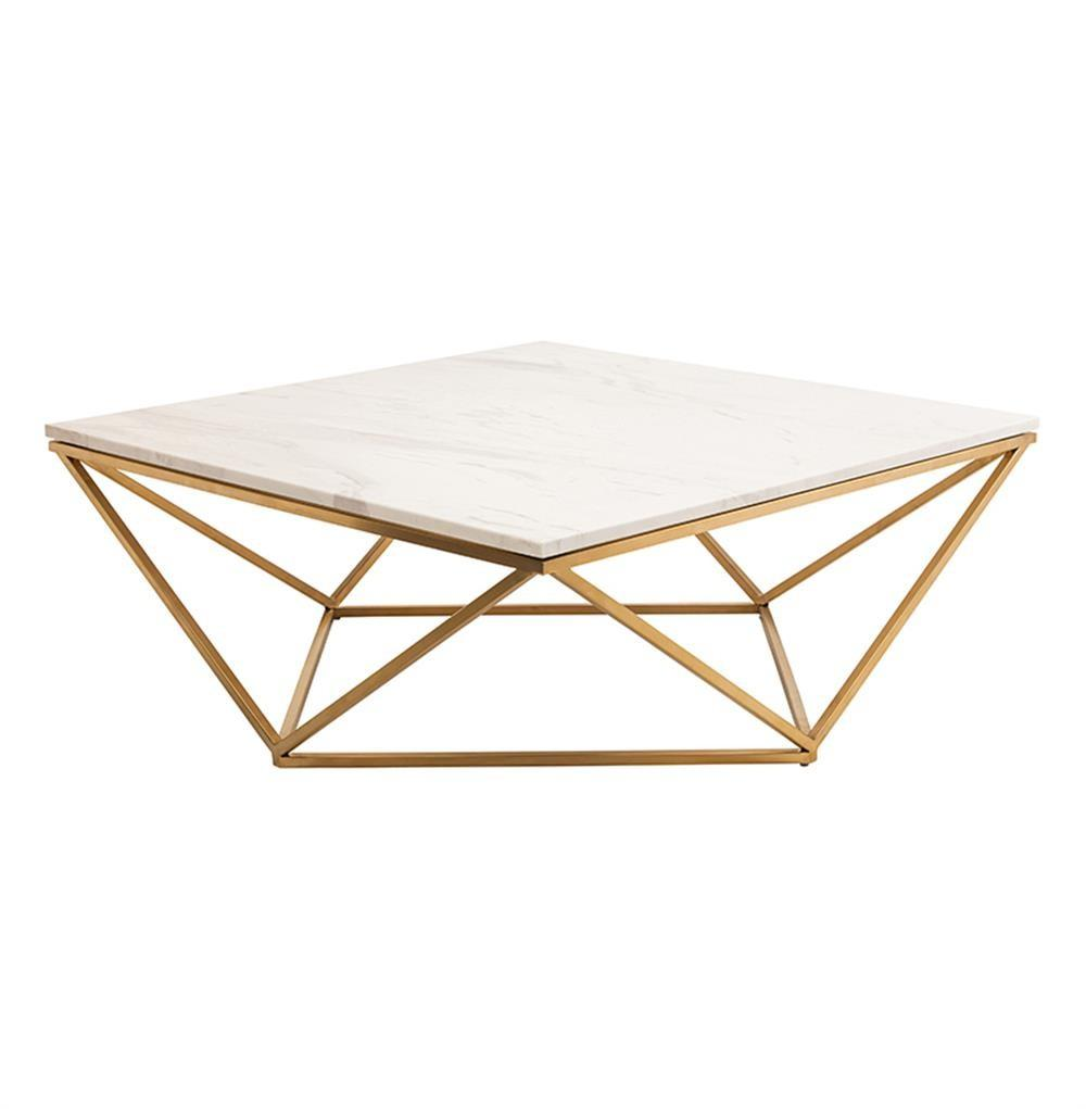 Rosalie Hollywood Regency Gold Steel White Marble Coffee