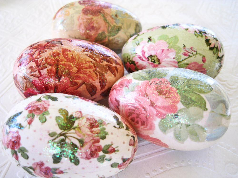 Rose Easter Eggs Glitter Decoupage Floral Cottage Style Pink