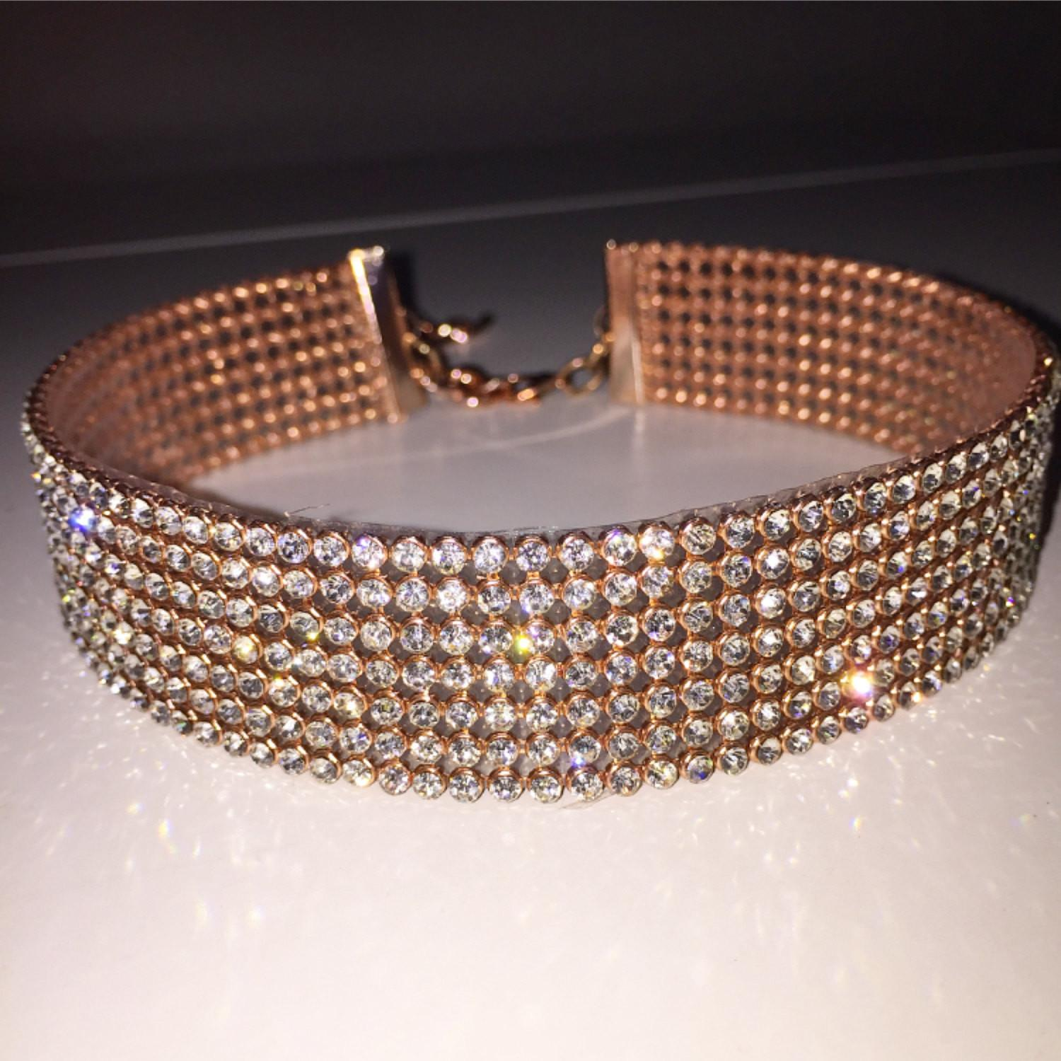 Rose Gold Clear Crystal Choker Diamond Jewelry