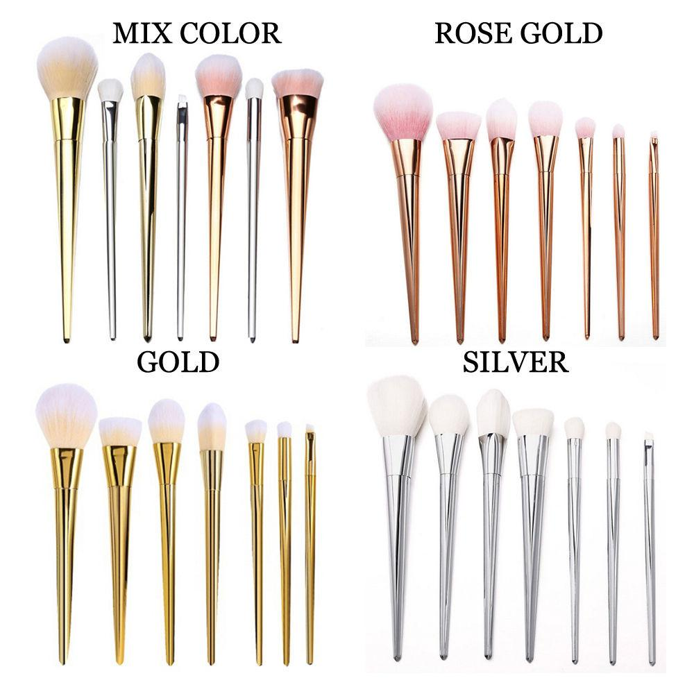 Rose Gold Makeup Brushes Bold Metal Blush 7pcs Pcs Set