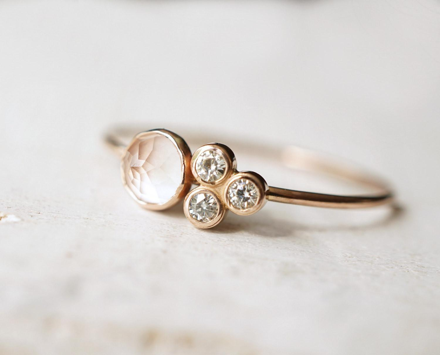 Rose Quartz Ring Moissanite Multi Stone Luxuring