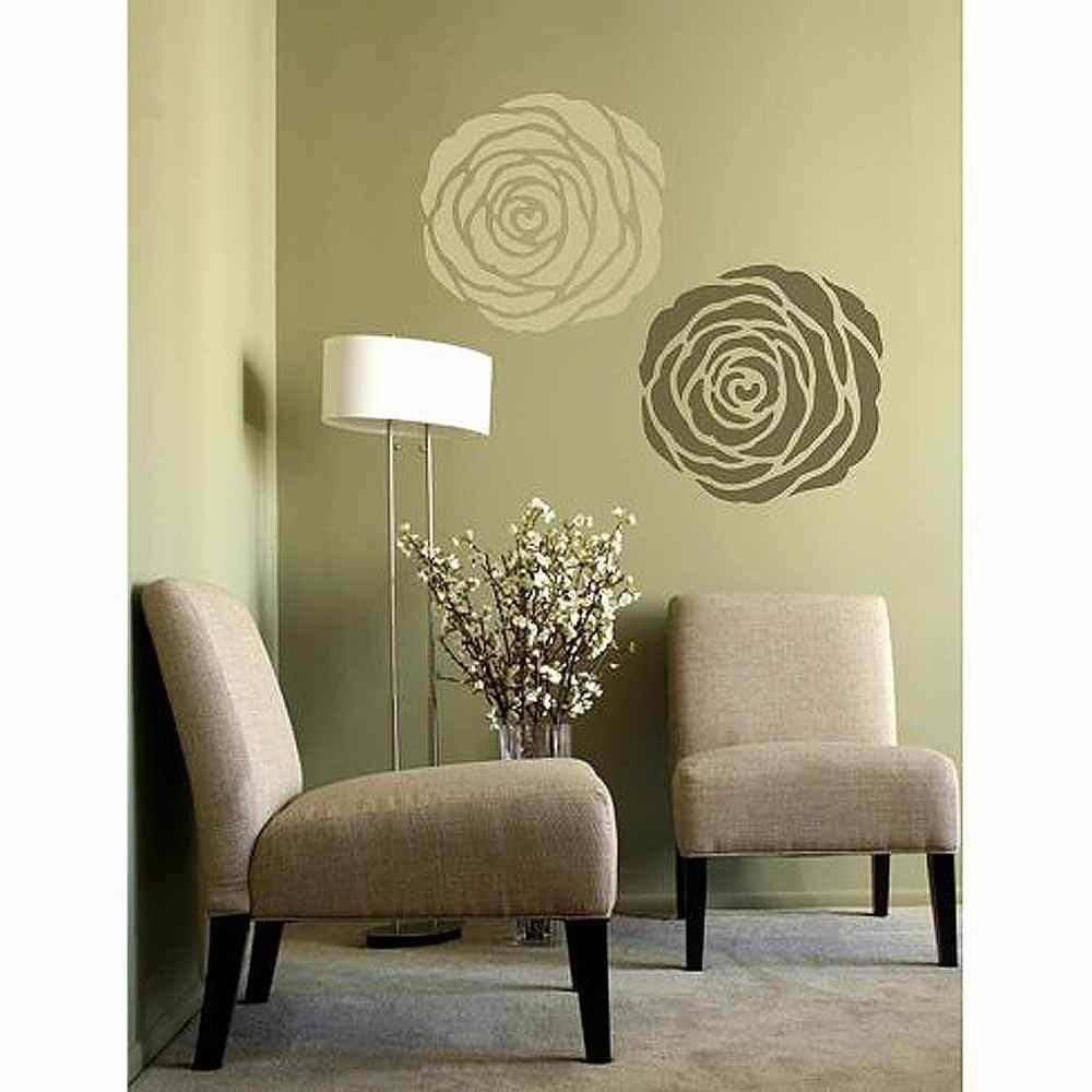 Rose Stencil Wall Art Medium Design Home