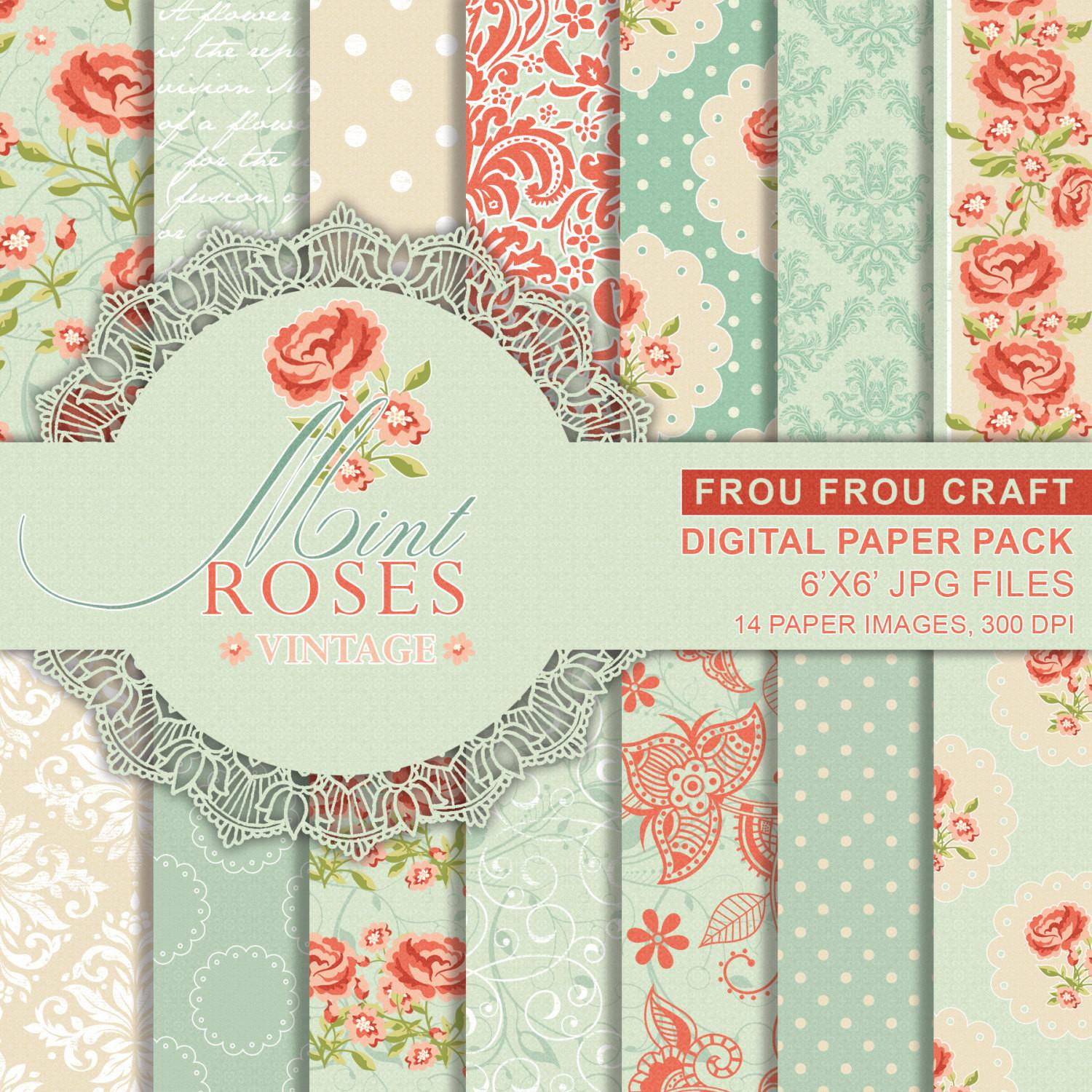 Rose Vintage Digital Paper Mint Romantic Printable