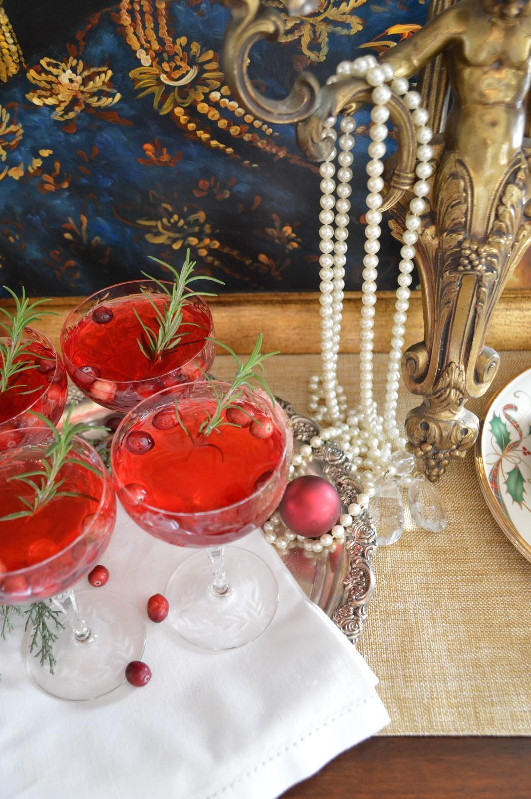Rosemary Infused Orange Cranberry Holiday Cocktail