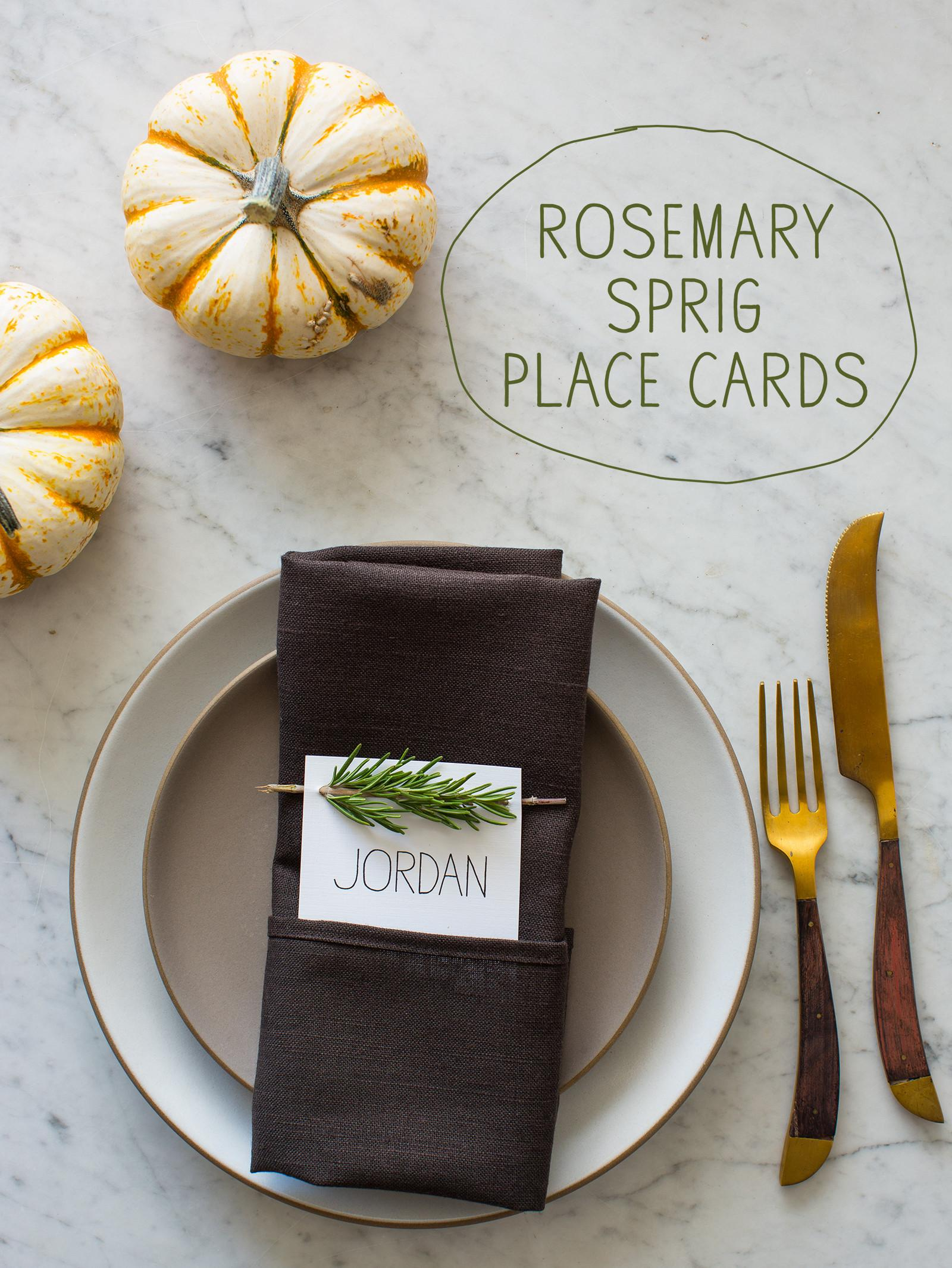 Rosemary Sprig Place Cards Diy Spoon Fork