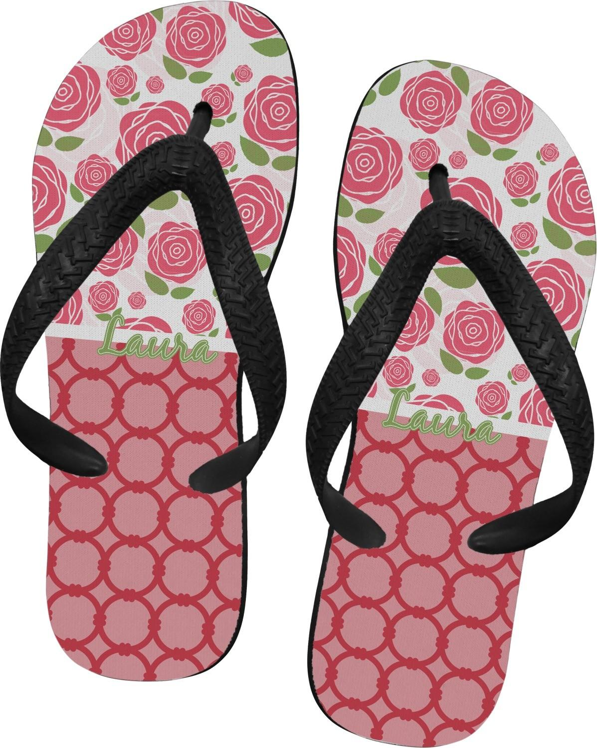 Roses Flip Flops Large Personalized Customize