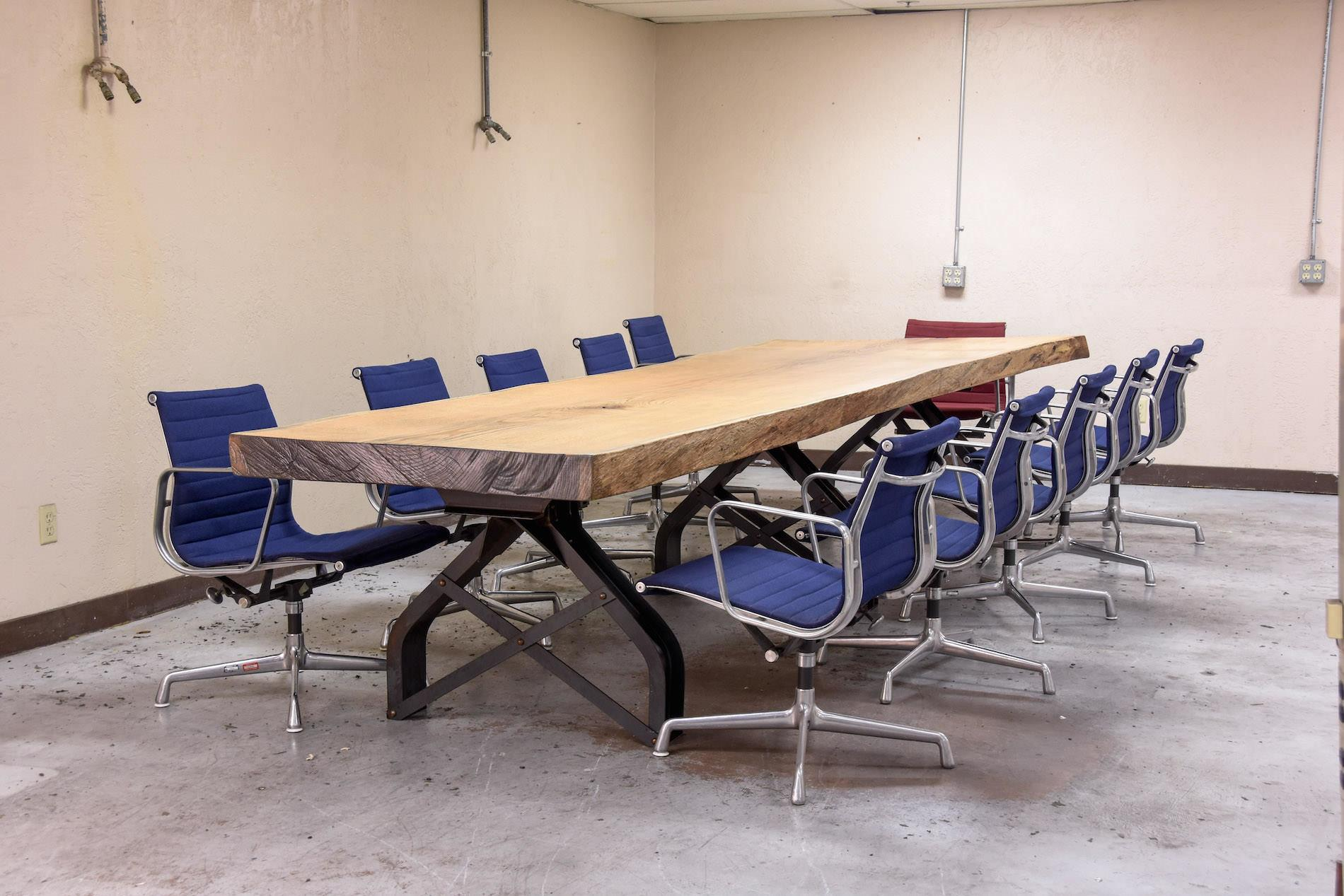 Rouille Live Edge Conference Table Vintage Industrial