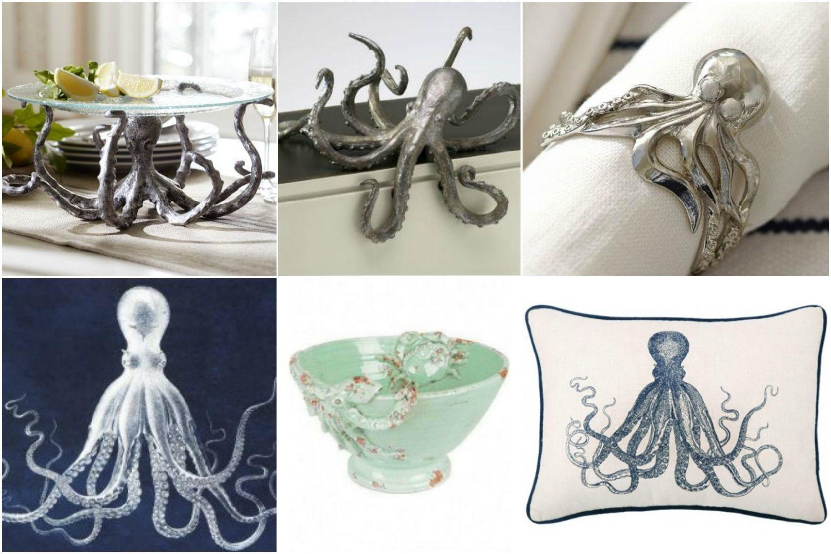 Round Coastal Octopus Decor
