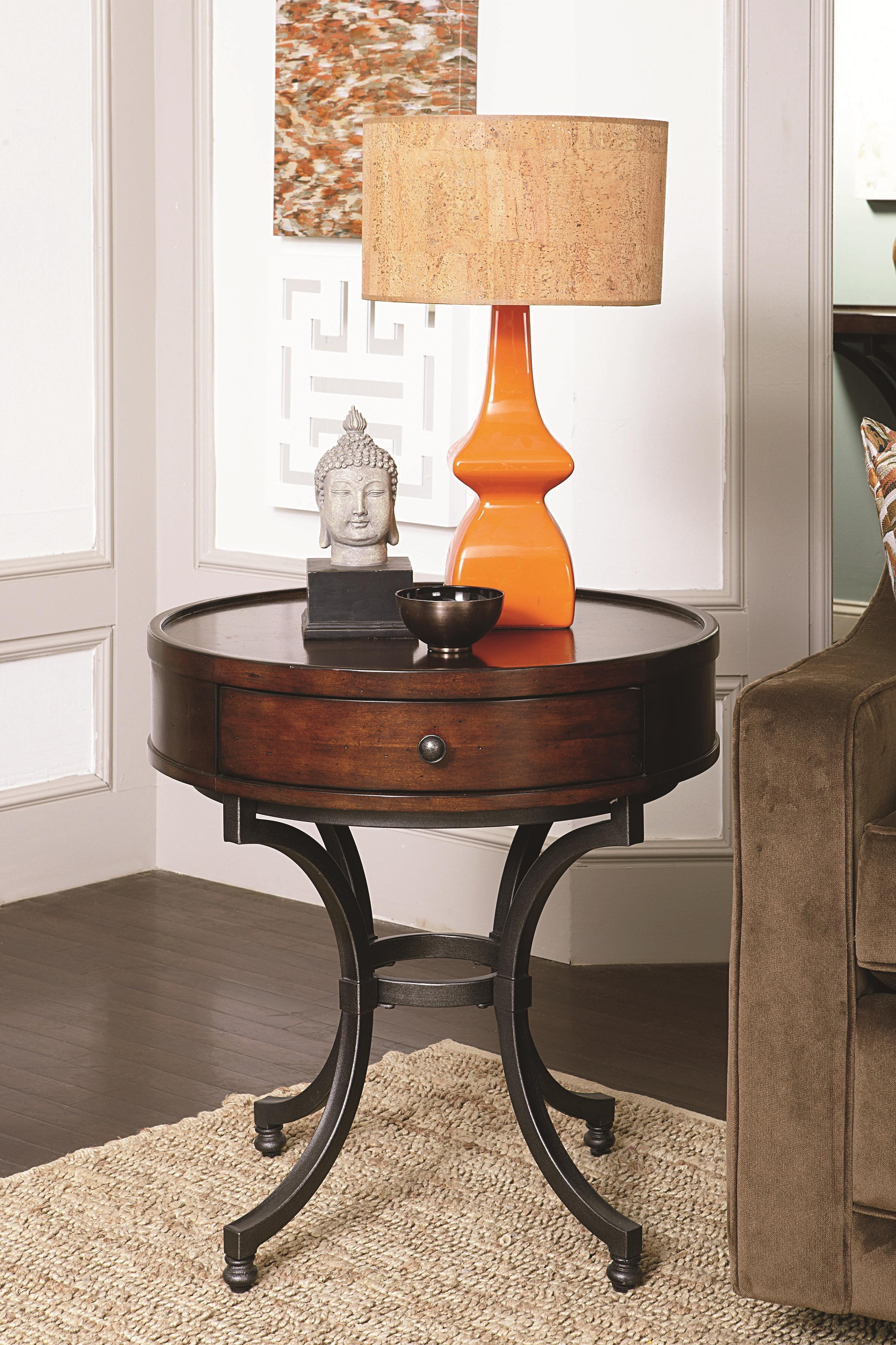 Round End Table Drawer Hammary Wolf