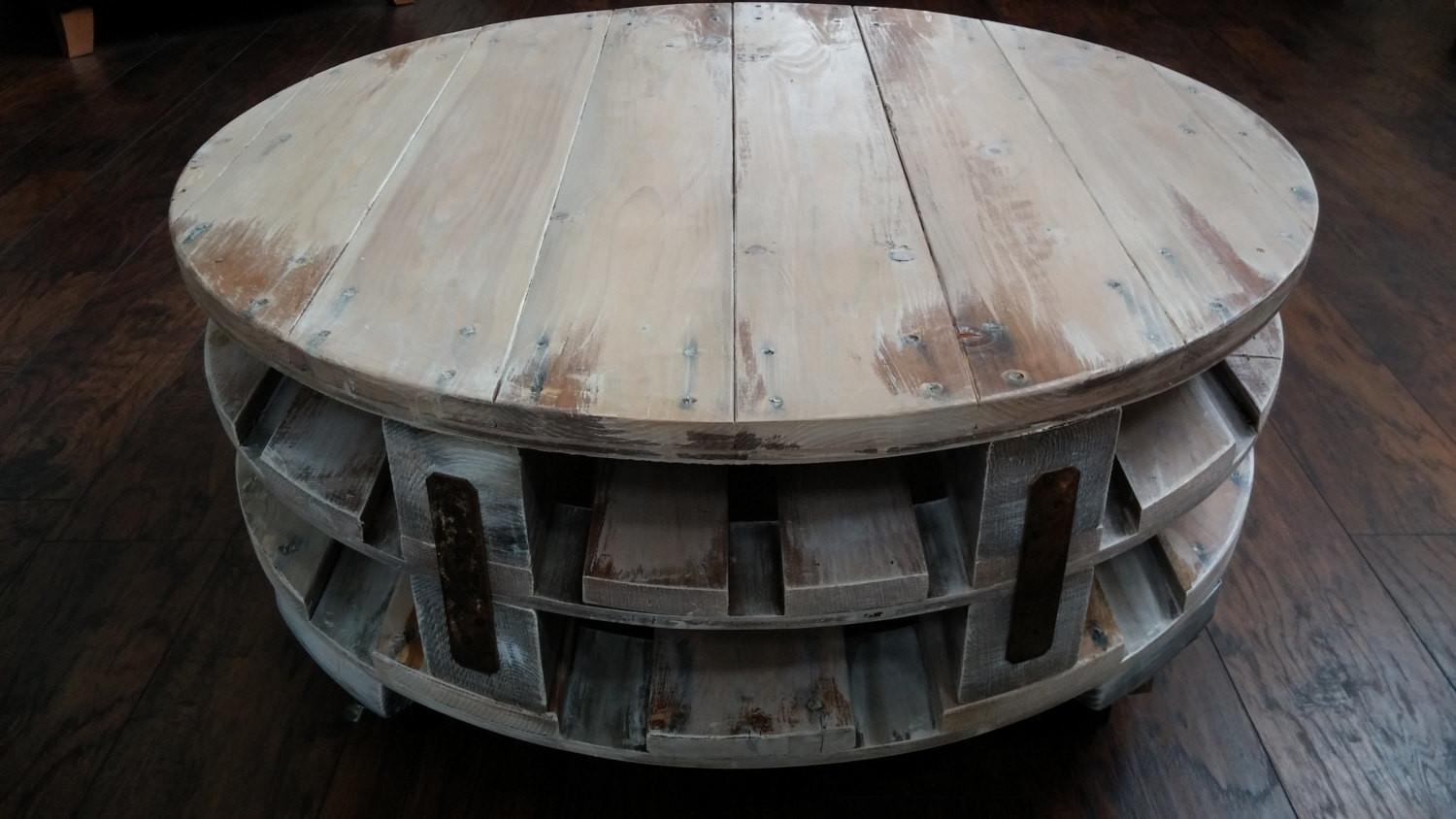 Round Industrial Chic Coffee Table Pallet Wood