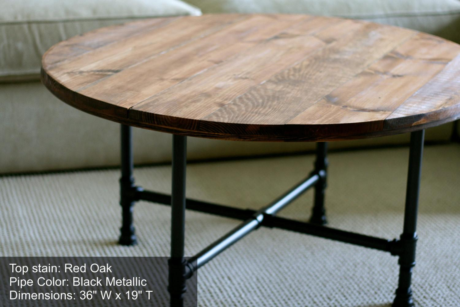 Round Industrial Coffee Table Reclaimed Sumsouthernsunshine